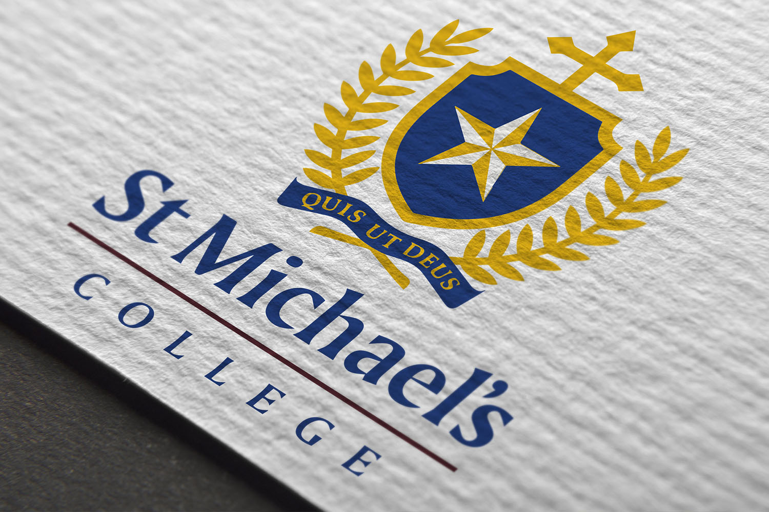 St Michael's College business card close-up