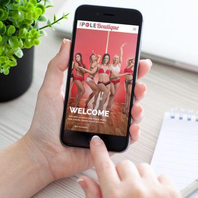 website on mobile display